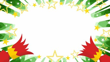 christmas cracker pulled apart on manga green starbust background with stars