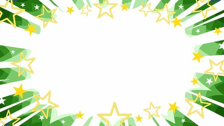 christmas starbust flash background in green with gold stars