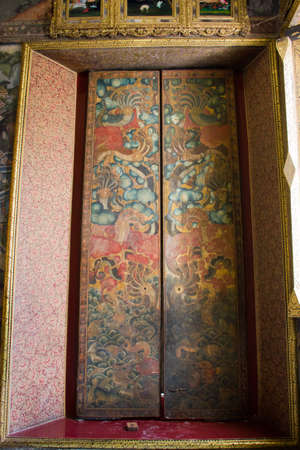 ancient door in thai temple Editorial
