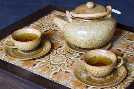 clay pot and cups tea set