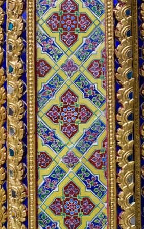 richly ornamented temple wall in thailand