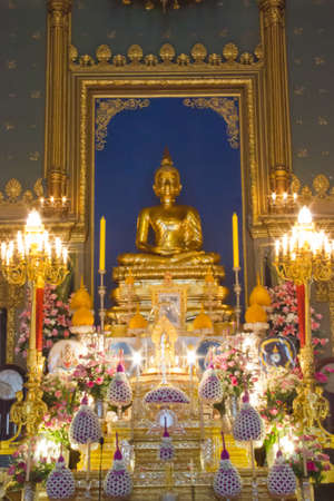 golden buddha image in temple Stock Photo