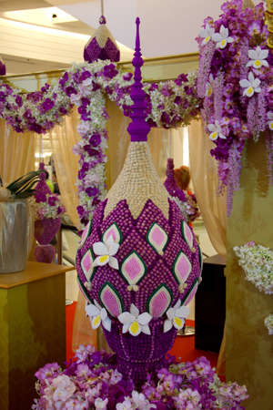 thai style decoration made from flowers Stock Photo