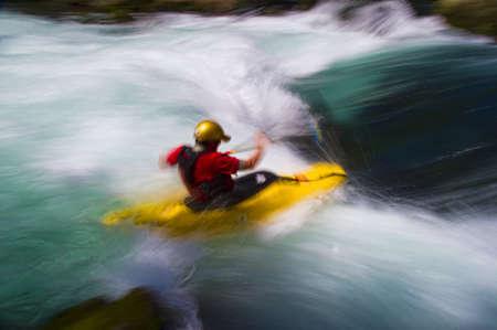 white salmon river: Man whitewater kayaking, White Salmon River, Washington, USA Stock Photo