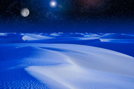 A digital composite of a moon rising over a sand dune
