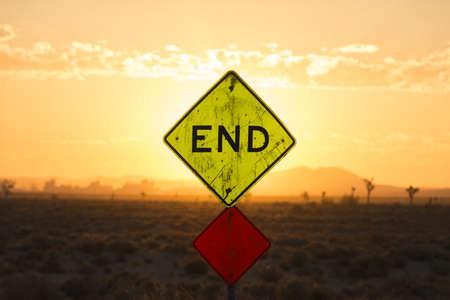 End road sign at sunset, Boron, California, USA photo