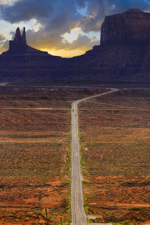 rock formation: Digitally created image of a roadway leading to Monument Valley, Arizona, USA