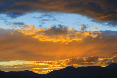 Golden Sunset over Mt  Mansfield, Stowe, Vermont, USA photo