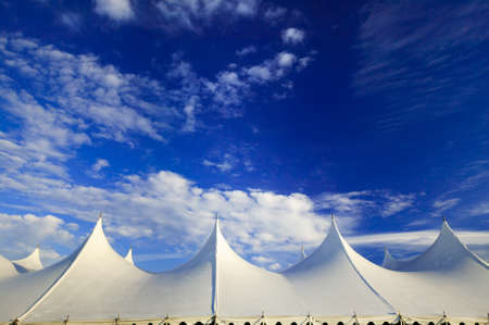 Top of a large event tent against a blue sky in Stowe, Vermont, USA