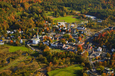 Aerial fall foliage view of rural village, Stowe, Vermont, USA