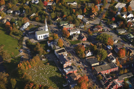Aerial fall foliage view of rural village, Stowe, Vermont, USA photo