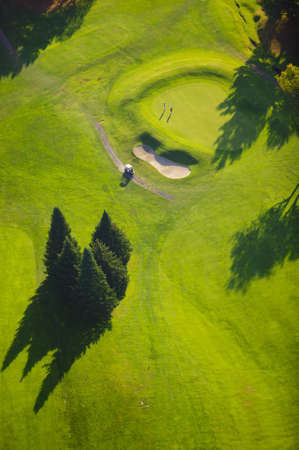 country club: Aerial photograph of a hole and sand dune at a country club  Stock Photo
