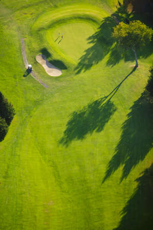 aerial: Aerial view of golf course, Stowe, Vermont, USA Stock Photo