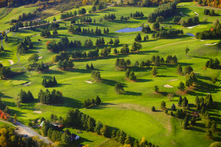 of course: Aerial view of golf course, Stowe, Vermont, USA Stock Photo