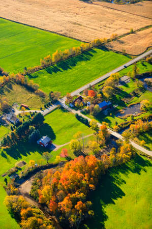 campagne rural: Vue a�rienne du paysage rural, Stowe, Vermont, USA Banque d'images