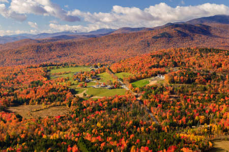 Aerial view of fall foliage, Stowe, Vermont, USA photo