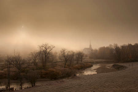 Stowe Community Church on a foggy morning, Stowe, Vermont, USA photo