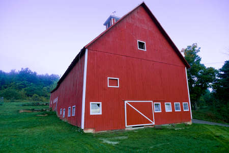 enhanced: Digitally enhanced red barn, Stowe Vermont, USA Editorial
