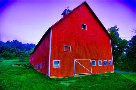 Digitally enhanced red barn, Stowe Vermont, USA Editorial