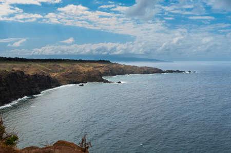 Scenic volcanic cliff coastline on Maui, Hawaii, USA