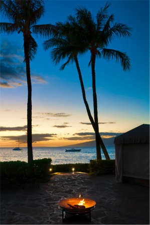 Wood fire pit in the foreground with palm trees in silhouette on the beach at sunset, on Maui, Hawaii, USA Stock Photo