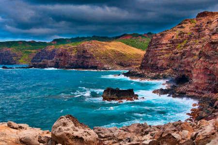 Scenic rocky volcanic cliff coastline on Maui, Hawaii, USA Stock Photo