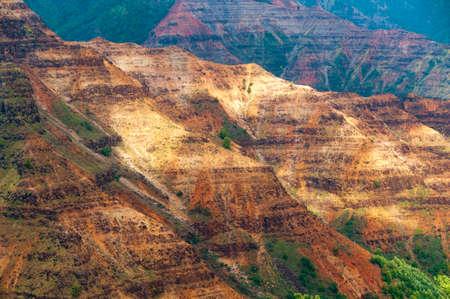 nicknamed: Overlooking Waimea Canyon State Park on the island of Kauai, Hawaii, USA, nicknamed the Grand Canyon of the Pacific.