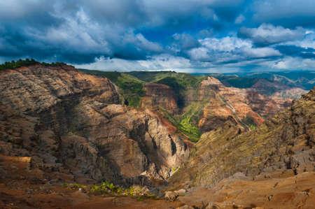 nicknamed: Overlooking Waimea Canyon State Park on the island of Kauai, Hawaii, USA, nicknamed the Grand Canyon of the Pacific