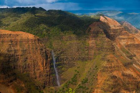 nicknamed: Overlooking Waimea Falls in Waimea Canyon State Park on the island of Kauai, Hawaii, USA, nicknamed the Grand Canyon of the Pacific