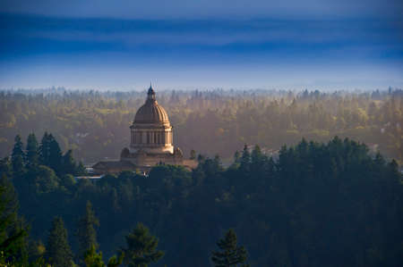 capitals: Distant view of the gold dome capital building in Olympia, Washington, USA