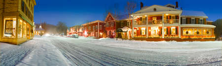 Digitally enhanced winter panorama of downtown new england village, Stowe, Vermont, USA