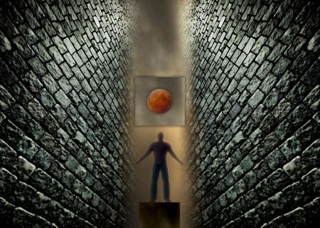 Digitally created man and a red moon caught between between two brick walls.