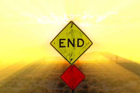 end road: End road sign in the desert at sunset, Boron, California, USA
