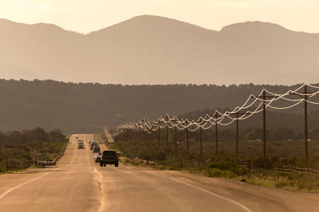 lines: Sunlit power lines on the side of a highway, Cortez, Colorado, USA