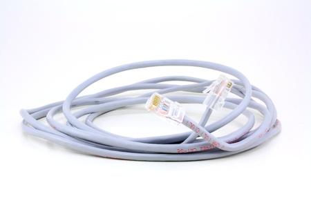 Cat 5e network cable rolled in a coil