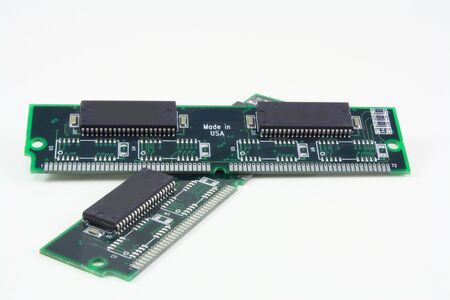 Computer Ram Memory circuit boards on white background