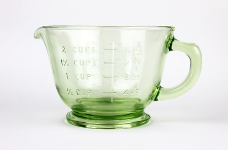 measuring cup: Green Depression Glass Measuring Cup