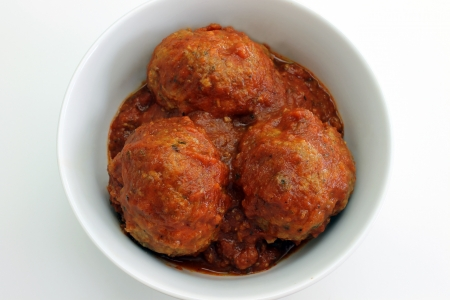 Three Meatballs in a Bowl Overhead View photo