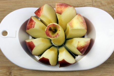 Apple cored and sliced photo