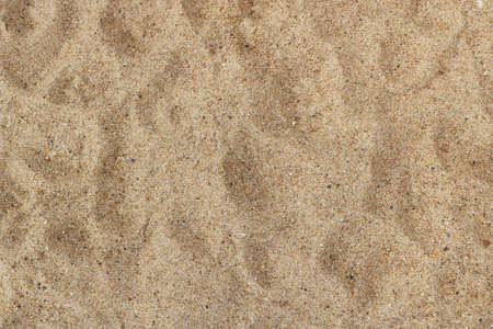 irregular surface of thin beach sand with pebbles, and shoe footprints - texture background view from above