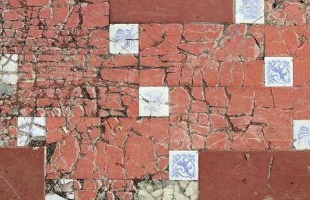Craked floor - classic style orange and white tiles broken Reklamní fotografie