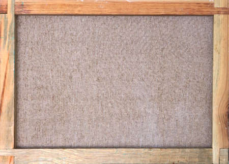 canvas with wooden frame and brown fabric texture - back side view Banque d'images
