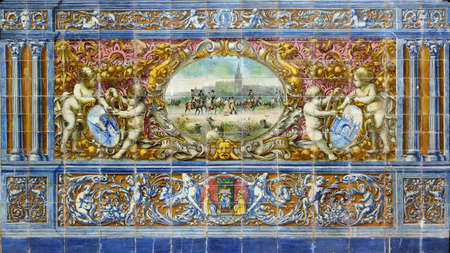 Image with a historical scene painted on ceramic tiles which represents livestock in Andalusia - seating benches in Spain Square in Seville