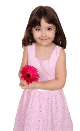 adorable little girl posing with bright pink daisy. isolated on white