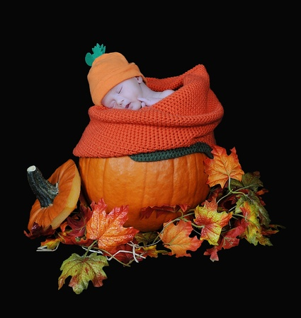 adorable infant baby sleeping in a real pumpkin. isolated Stock Photo - 11693262