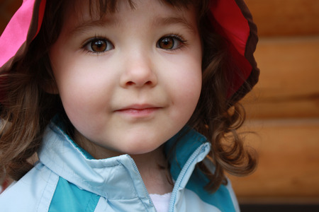 closeup of sweet young girl with amazing brown eyes