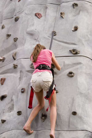 girls rock climbing
