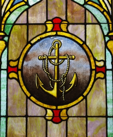 stained glass: Stained Glass Anchor Image Stock Photo