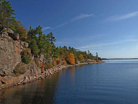 Trees on rocky coast at lake photo