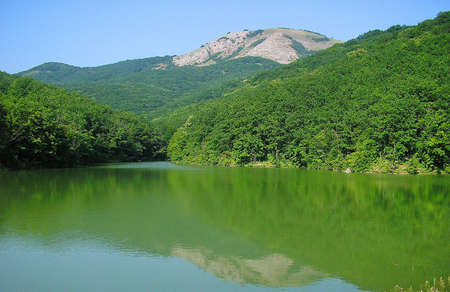 reflaction: The Voron lake with tranquil water and with reflaction